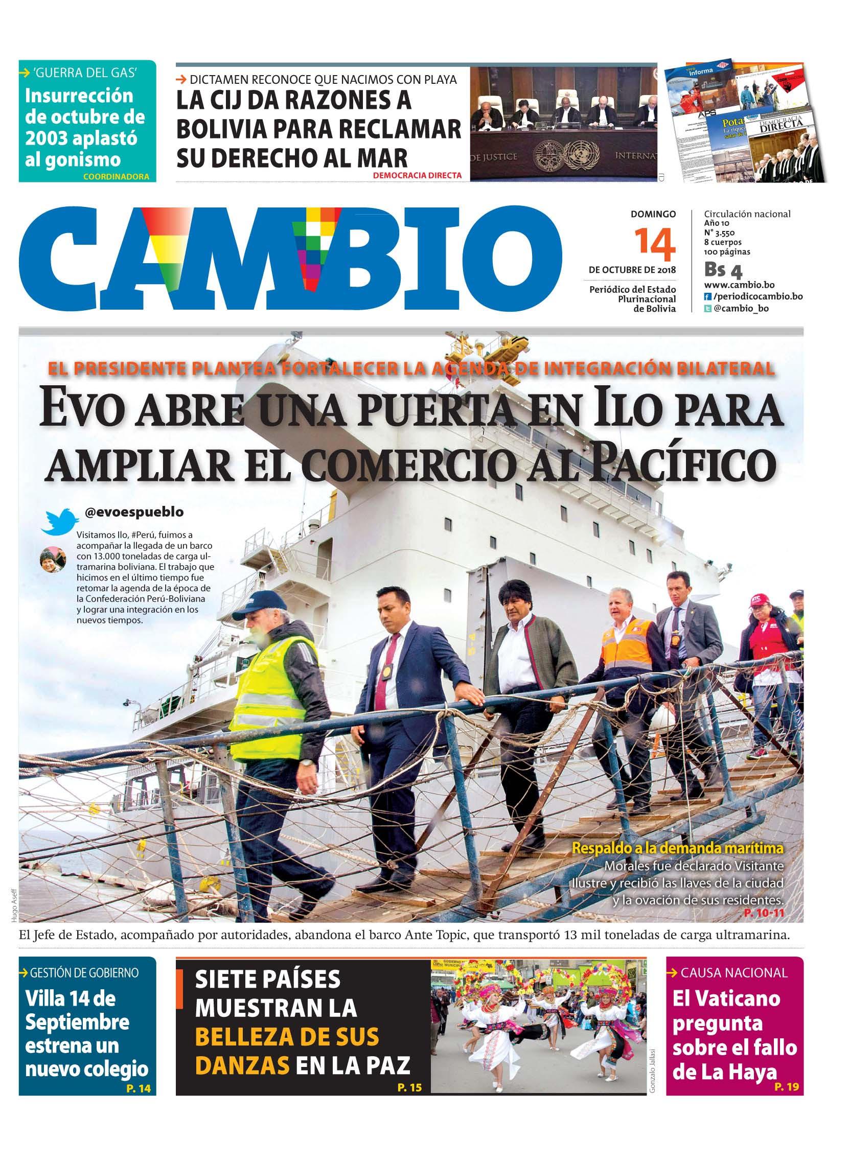 Morales recibe Carga Boliviana en Puerto de Ilo y destaca la integración Perú-Boliviana
