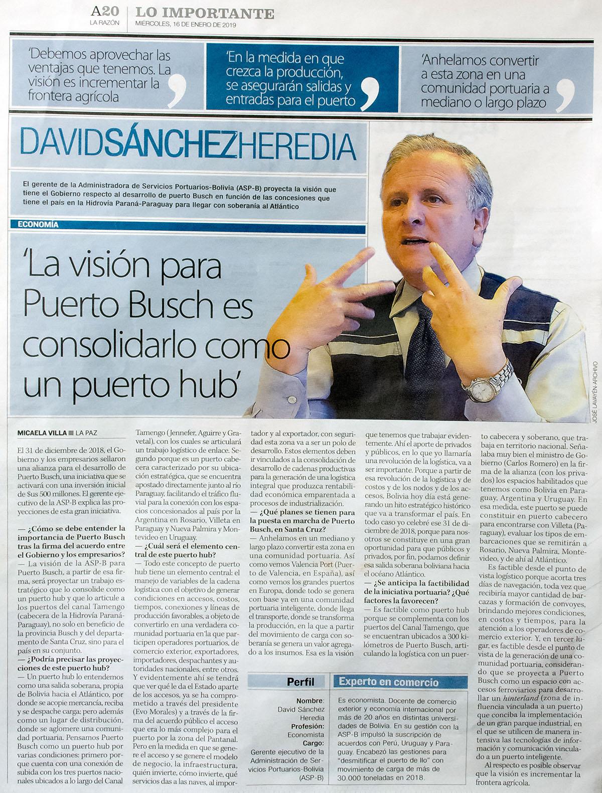 La visión para Puerto Busch es consolidarlo como puerto hub