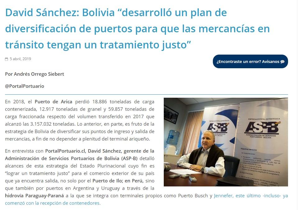 """David Sánchez: Bolivia """"desarrolló un plan de diversificación de puertos para que las mercancías en tránsito tengan un tratamiento justo"""""""