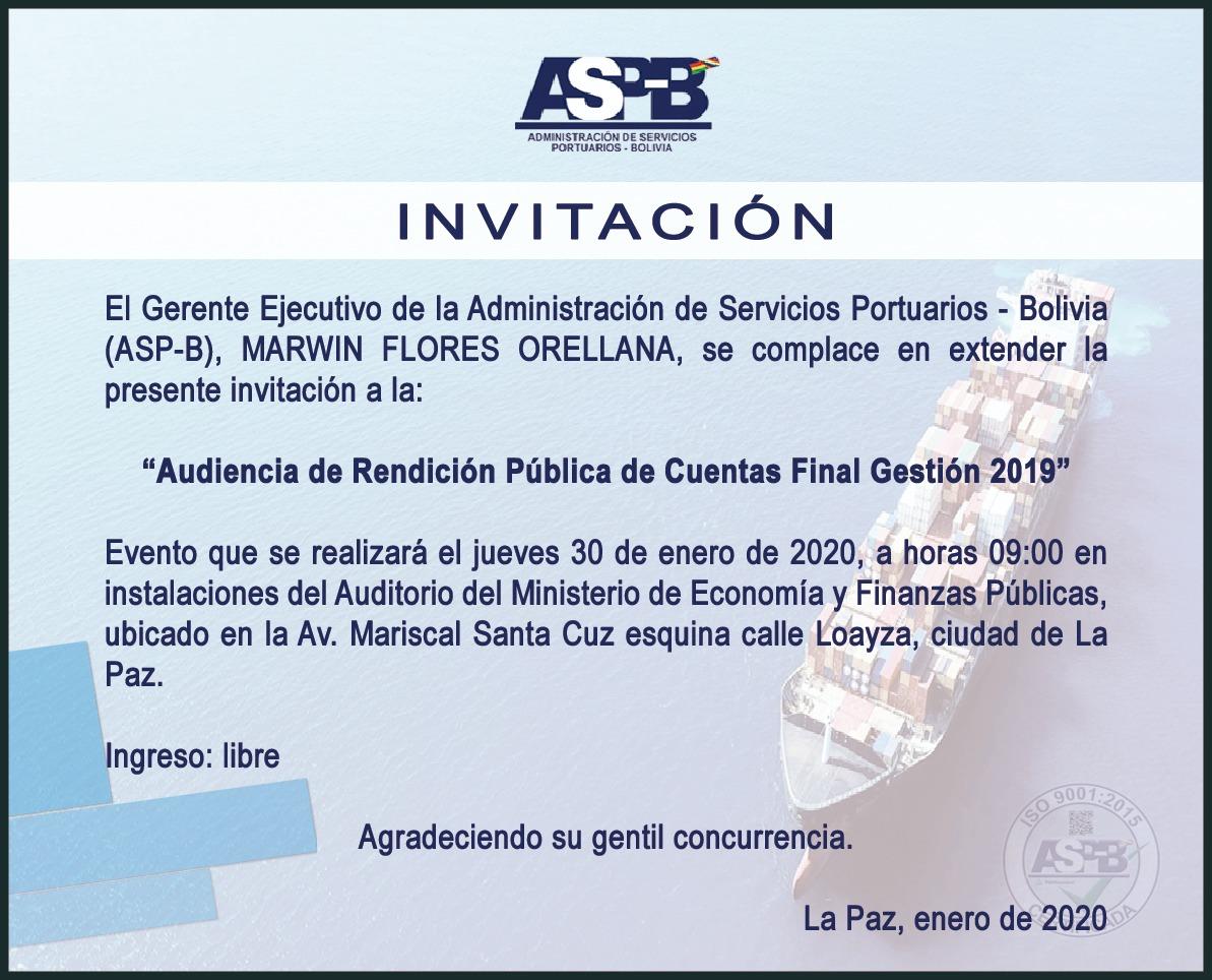 ASP-B desarrollará su Rendición Final de Cuentas 2019 en el MEFP
